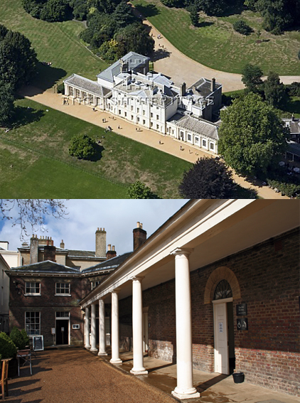 Kenwood House, Highgate: aerial and view of the partly concealed kitchen wing.