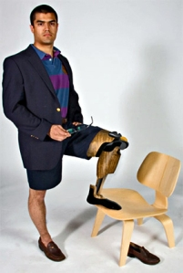 Man-Eames chair mediation by prosthetic device.